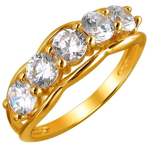 Эстет Кольцо с 5 фианитами из жёлтого золота 01К1310859, размер 16.5