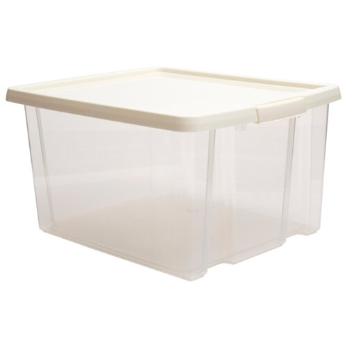 ПОЛИМЕРБЫТ Ящик хозяйственный с фиксаторами 24,5x47x36,5 см белый/прозрачный полимербыт ящик хозяйственный с