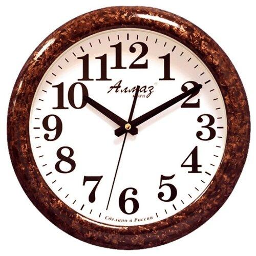 Часы настенные кварцевые Алмаз H23/H24 темно-коричневый/белый