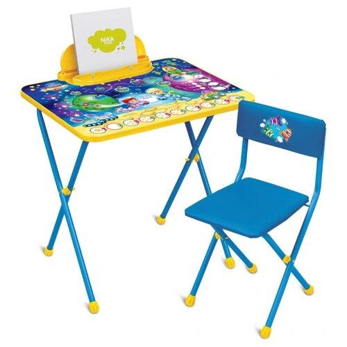 Купить Комплект Nika стол + стул Познайка. Математика в космосе (КП2/8) 60x45 см синий/желтый, Парты и столы