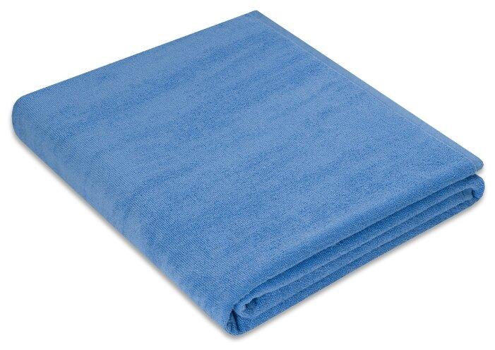 Простыня махровая цвет: голубой 150х200