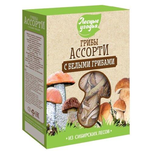 Лесные Угодья Ассорти с белыми грибами сушеные резаные, коробка картонная 45 г