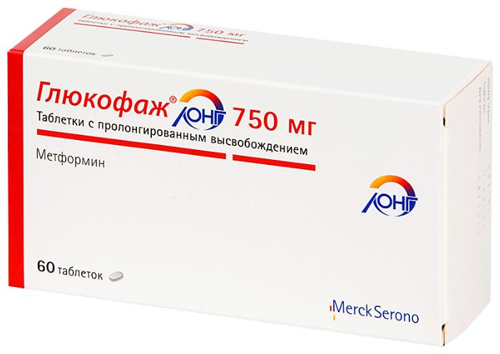 Глюкофаж Лонг таб. пролонг. действ. 750 мг №60