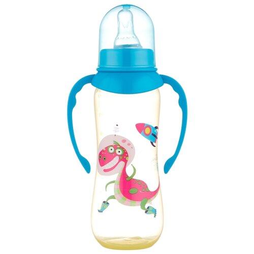 lubby бутылочка с соской малышарики 125 мл с рождения желтый Lubby Бутылочка полипропиленовая с соской и ручками, 250 мл с рождения, динозаврик