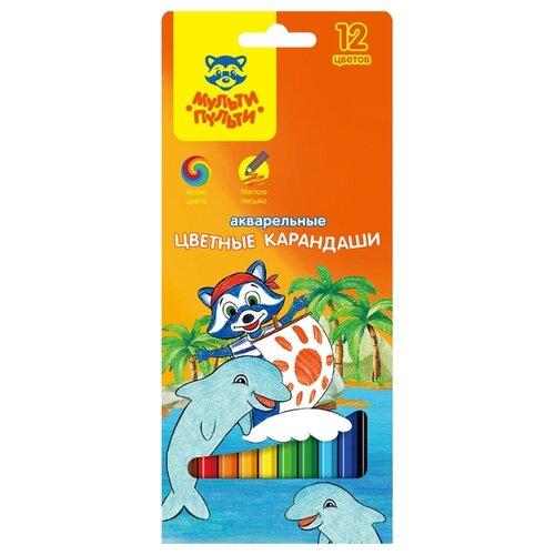 Купить Мульти-Пульти Карандаши акварельные Енот в Карибском море, 12 цветов (CP_10762), Цветные карандаши