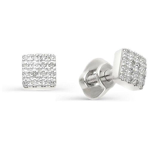 АЛЬКОР Серьги с бриллиантами из белого золота 585 пробы 22265-200 алькор кольцо с бриллиантами из белого золота 585 пробы 12015 200 размер 19 5