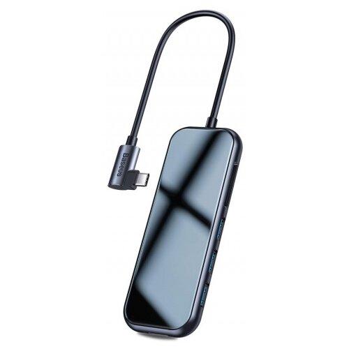 USB-концентратор Baseus Multi-functional HUB Type-C to 3xUSB+HDMI (CAHUB-CZ0G), разъемов: 4, dark grey адаптер wiwu alpha 631str type c 3xusb 3 0 rj45 grey 6957815512560