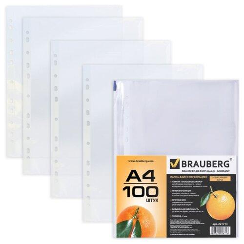 BRAUBERG Папка-файл перфорированная, А4, 45 мкм, апельсиновая корка 100 шт бесцветныеФайлы и папки<br>