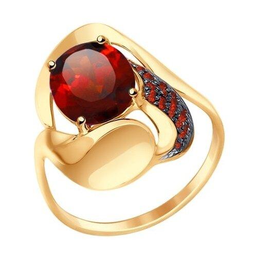 SOKOLOV Кольцо из золота с ситаллом и красными фианитами 714669, размер 18 фото