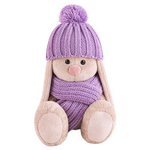 Мягкая игрушка Зайка Ми в сиреневой шапочке и шарфе 15 см