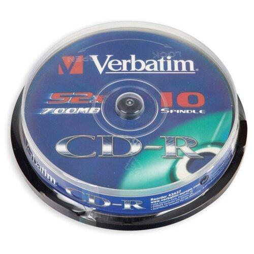 Фото - Носители информации CD-R, 52x, Verbatim Extra Protection, Cake/10, 43437 оптический диск cd r verbatim 700mb 52x cake box 10шт 43437