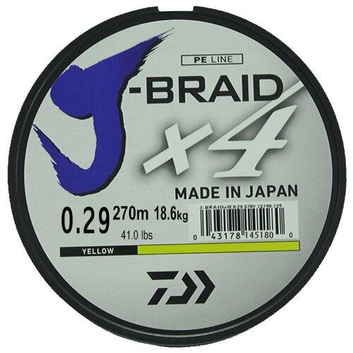 Плетеный шнур DAIWA J-Braid X4 yellow 0.29 мм 270 м 18.6 кг