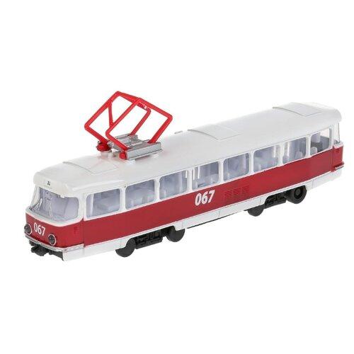 цена на Трамвай ТЕХНОПАРК CT12-463-2-OR-WB 18 см белый/красный