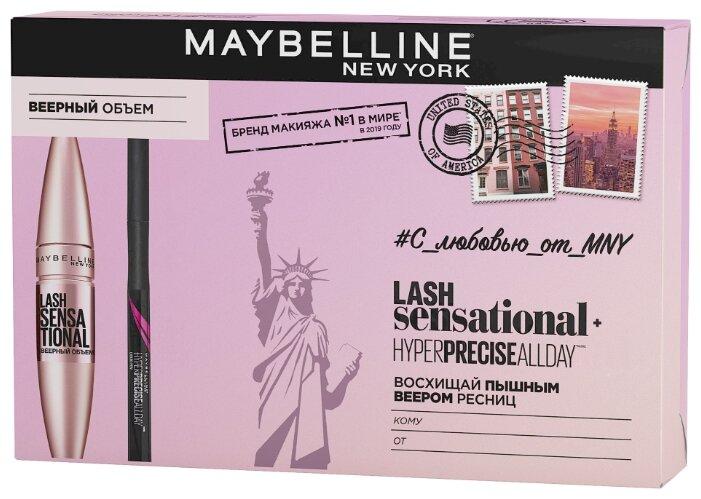 Maybelline New York Набор: тушь для ресниц Lash Sensational, лайнер для глаз Hyper Precise