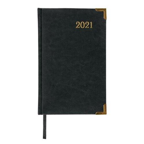 Купить Ежедневник BRAUBERG Senator датированный на 2021 год, искусственная кожа, А5, 168 листов, черный, Ежедневники, записные книжки