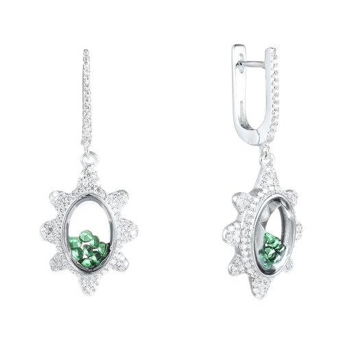 цена на JV Серьги с стеклом и фианитами из серебра A088-SR-CRYST-003-WG