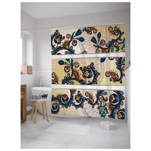 Штора для ванной JoyArty Узорчатые цветы 180х200 (sc-16923) разноцветный