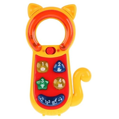 Развивающая игрушка Умка Обучающий телефон-трещотка красный/желтый