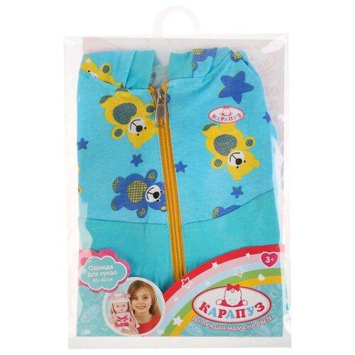 Купить Карапуз Комбинезон с капюшоном для кукол 40-42 см OTF-1904С-RU голубой, Одежда для кукол