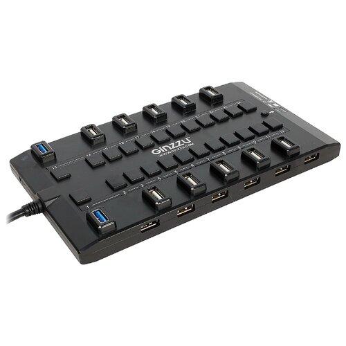 USB-концентратор Ginzzu GR-328UAB, разъемов: 28, черный