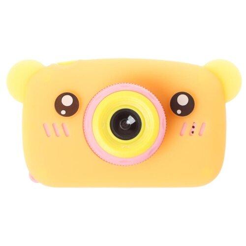 Фотоаппарат GSMIN Fun Camera Bear со встроенной памятью и играми розово-оранжевый
