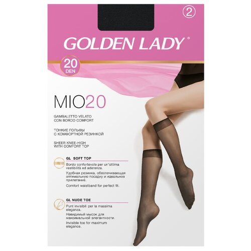 Капроновые гольфы Golden Lady Mio 20 Den, 2 пары, размер 0 (one size), nero