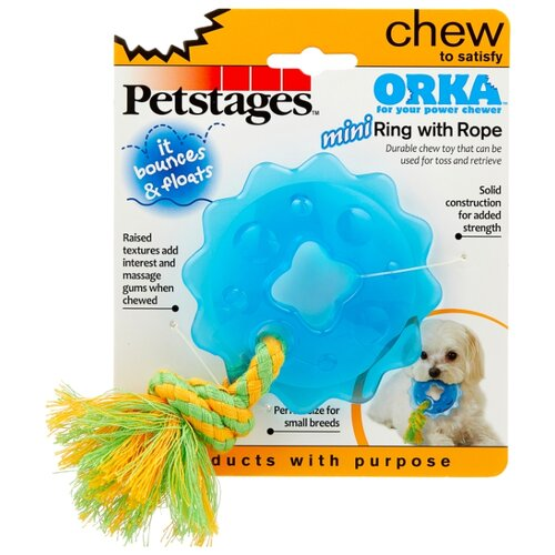 Кольцо для собак Petstages Orka mini с канатом (238REX) синий