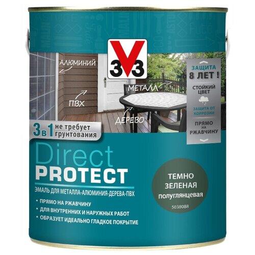 Эмаль алкидная (А) V33 Direct Protect 1138 темно-зеленый 2.5 л