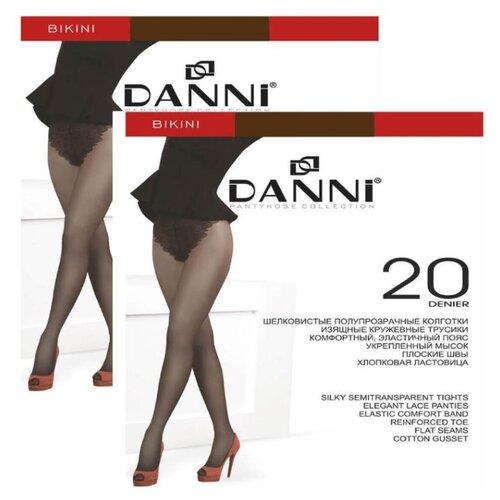 Колготки DANNI Bikini 20 den, размер 4, загар (коричневый), 2 пары колготки женские золотая грация шансон 20 цвет загар размер 4 46