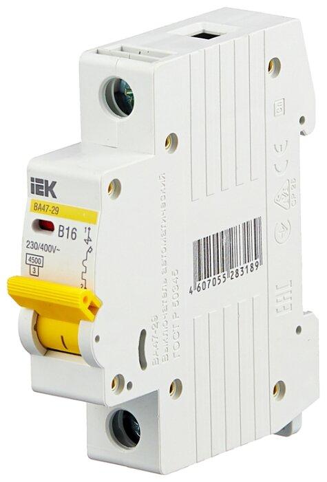 Купить Автоматический выключатель IEK ВА 47-29 1P (B) 4,5kA 16 А по низкой цене с доставкой из Яндекс.Маркета (бывший Беру)