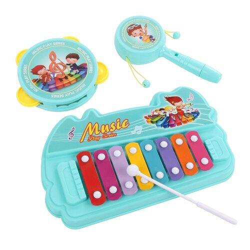 Купить Veld Co набор инструментов Юный музыкант 91321 голубой/желтый, Детские музыкальные инструменты