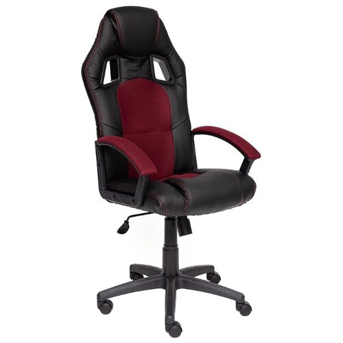 Компьютерное кресло TetChair Драйвер игровое, обивка: текстиль/искусственная кожа, цвет: черный/бордовый компьютерное кресло tetchair runner игровое обивка текстиль искусственная кожа цвет черный желтый
