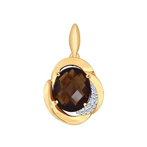SOKOLOV Подвеска из золота с раухтопазом и фианитами 731306
