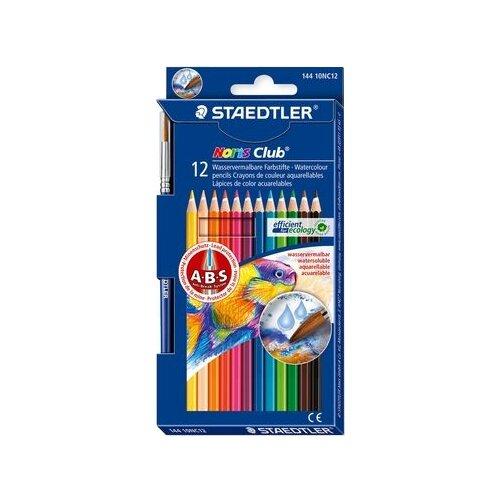 Купить Staedtler Карандаши акварельные Noris Club 12 цветов + кисть (144 10NC12), Цветные карандаши
