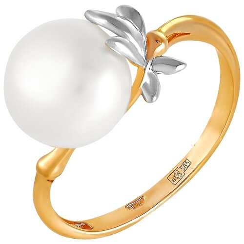 Фото - ПримаЭксклюзив Кольцо Листики с 1 жемчугом из красного золота 190-1-718Р, размер 17 примаэксклюзив кольцо с 1 жемчугом из красного золота 190 1 921р размер 17