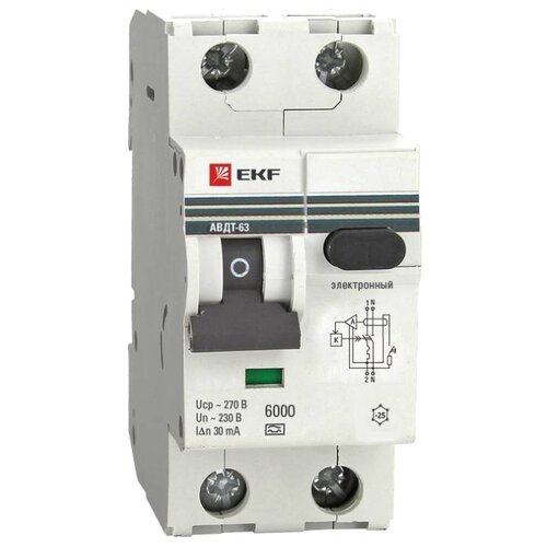 Дифференциальный автомат EKF АВДТ-63 2П 30 мА C 16 А автомат ekf mcb47100 3 50c pro