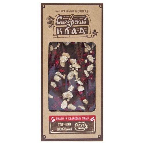 Шоколад Сибирский Клад горький Вишня и кедровый жмых, 30 г