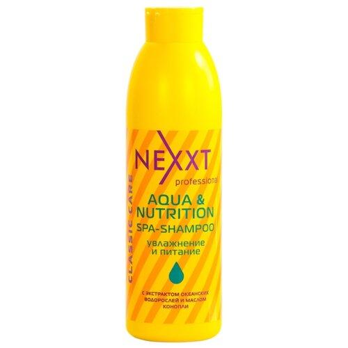 NEXXT спа-шампунь Professional Classic Care Aqua & Nutrition увлажнение и питание 1000 мл nexxt professional classic care volume шампунь для объема волос 1000 мл