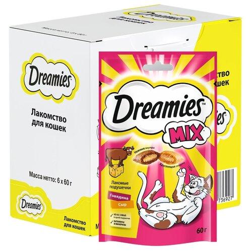 Лакомство для кошек Dreamies Подушечки Mix говядина, сыр, 60 г х 6 уп. (шоу бокс)