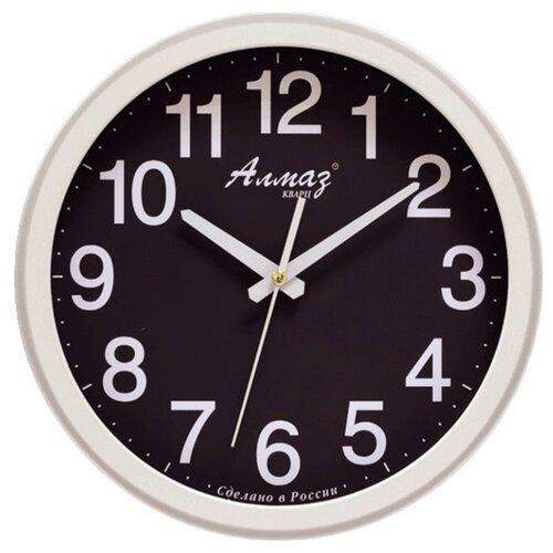 Часы настенные кварцевые Алмаз B57-B62 белый/черный часы настенные кварцевые алмаз h01 белый черный
