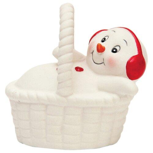 Фото - Фигурка Феникс Present Снеговик в корзине 8 см белый фигурка феникс present дедушка мороз 26 см белый голубой красный
