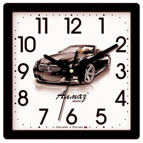 Часы настенные кварцевые Алмаз M44 черный/белый часы настенные кварцевые алмаз h01 белый черный