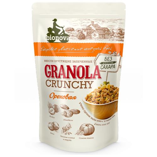Гранола BIONOVA ореховая, дой-пак, 400 г гранола verestovo хлопья банан малина воздушные шоколадные шарики дой пак 300 г