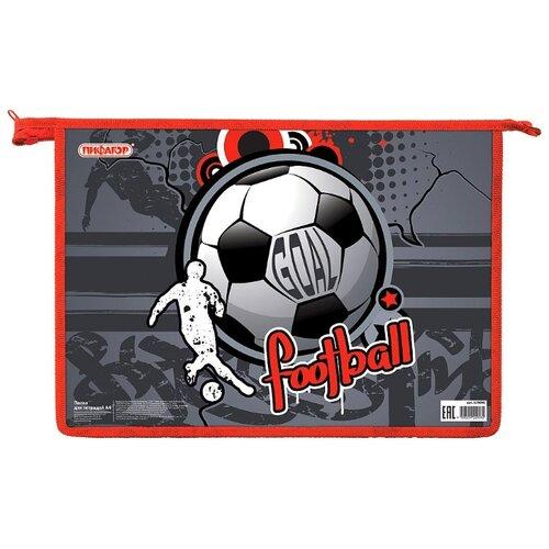 Купить Пифагор Папка для тетрадей на молнии Football, А4, 1 отделение, картон серый/красный, Файлы и папки