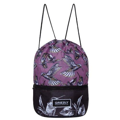 Grizzly Мешок для обуви (OM-93-6/OM-026) розовый/черный сумка женская grizzly цвет черный розовый 9 5 л md 621 2 1