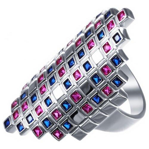 JV Кольцо с фианитами из серебра SY-356147-R-KO-002-WG, размер 17.5 jv кольцо с стеклом и фианитами из серебра sy 356989 r ko 002 wg размер 16 5