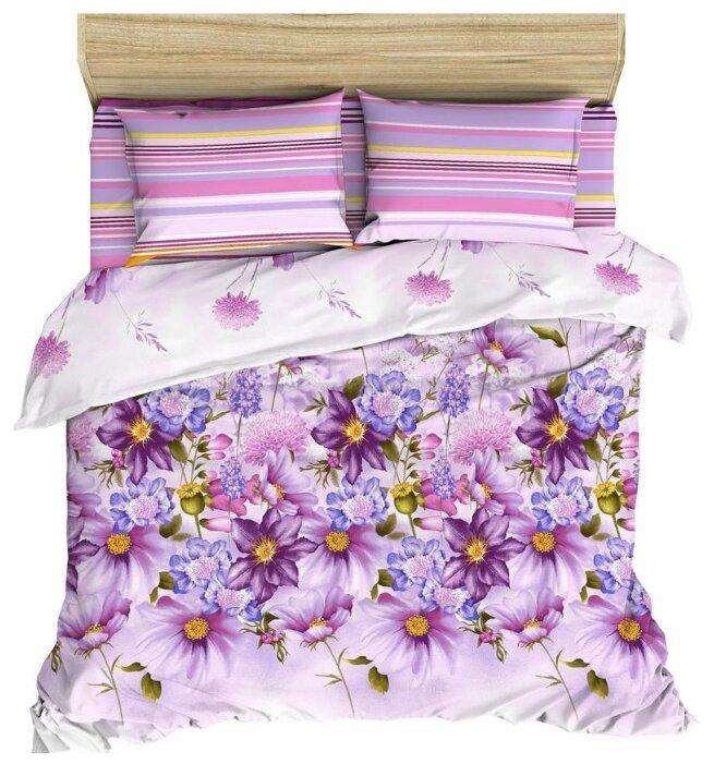 Постельное белье 2-спальное Василиса Акварельный букет, поплин фиолетовый с принтом