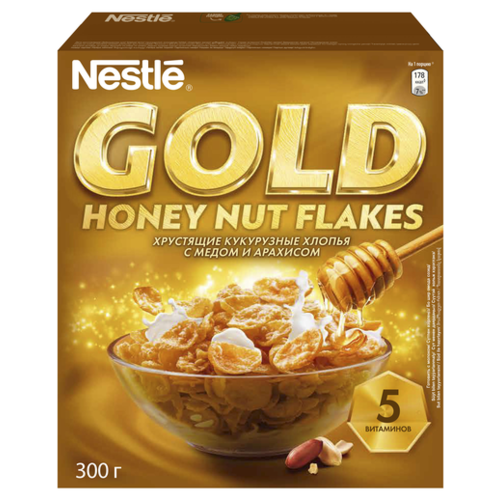 Готовый завтрак Nestle Gold Honey Nut Flakes хлопья, коробка, 300 г nestle fitness хлопья с темным шоколадом готовый завтрак 275 г