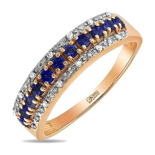 ЛУКАС Кольцо с сапфирами и бриллиантами из красного золота R01-D-33607-SA, размер 16