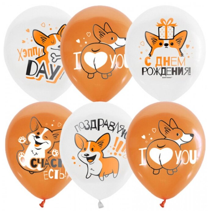 Набор воздушных шаров Патибум Корги. С днем рождения (25 шт.)